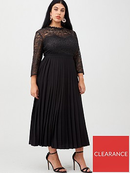 little-mistress-curve-lace-pleated-midaxi-dress-black