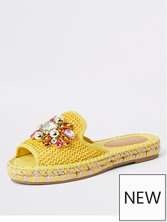 0819072902de River Island River Island Embellished Backless Espadrille - Yellow