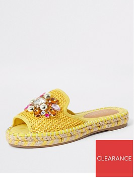 river-island-river-island-embellished-backless-espadrille-yellow