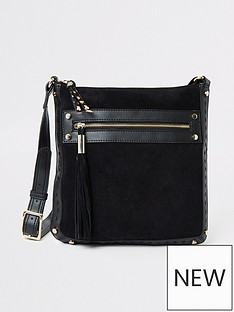 4f20d357 River Island River Island Leather Mix Cross Body Bag - Black