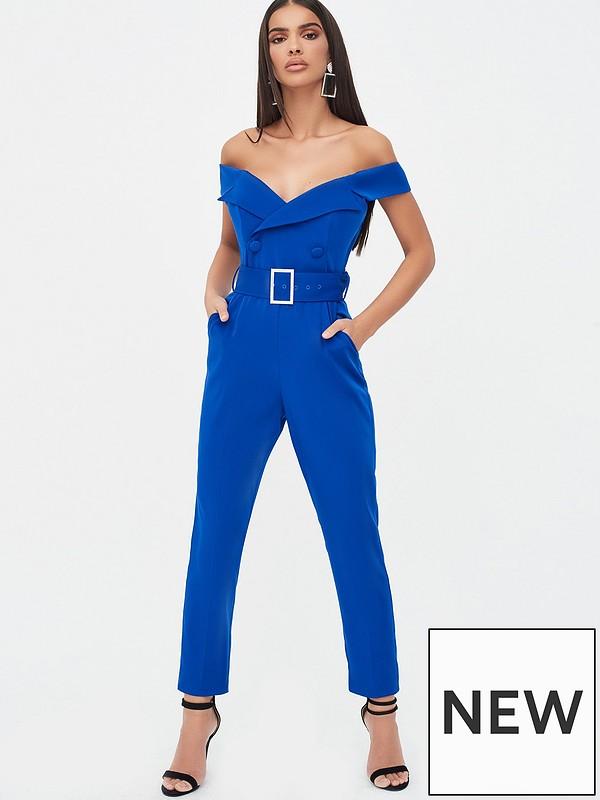 cheapest elegant and graceful fashion style of 2019 Off Shoulder Tux Jumpsuit With Diamante Belt - Cobalt Blue
