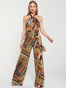 u-collection-forever-unique-twist-neck-printed-jumpsuit-greenmulti