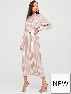 u-collection-forever-unique-long-sleeve-plisse-maxi-dress-rose-gold