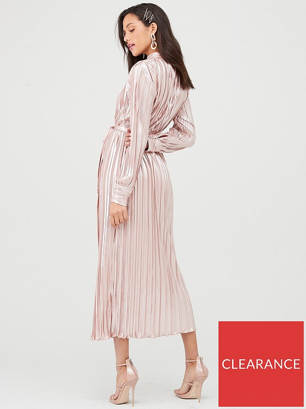 U Collection Forever Unique Long Sleeve Plisse Maxi Dress Rose Gold Very Co Uk