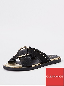 river-island-river-island-wide-fit-cross-stud-mule-sandal-black