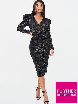 lavish-alice-structured-shoulder-pleated-midi-dress-black