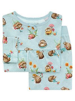 cath-kidston-girls-hedgehog-jersey-pyjama-set-blue