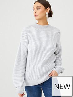 v-by-very-ribbed-balloon-sleeve-jumper-grey