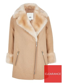 river-island-girls-faux-fur-trim-biker-coat-brown