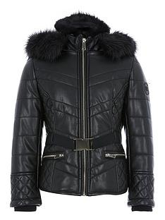river-island-girls-faux-fur-hood-belted-padded-coat-black