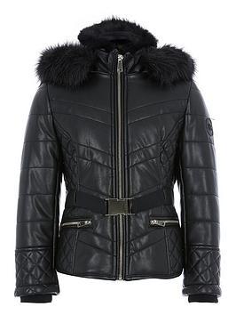 river-island-girls-faux-fur-hood-belted-padded-coat-black