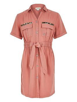 river-island-girls-short-sleeve-shirt-dress-pink