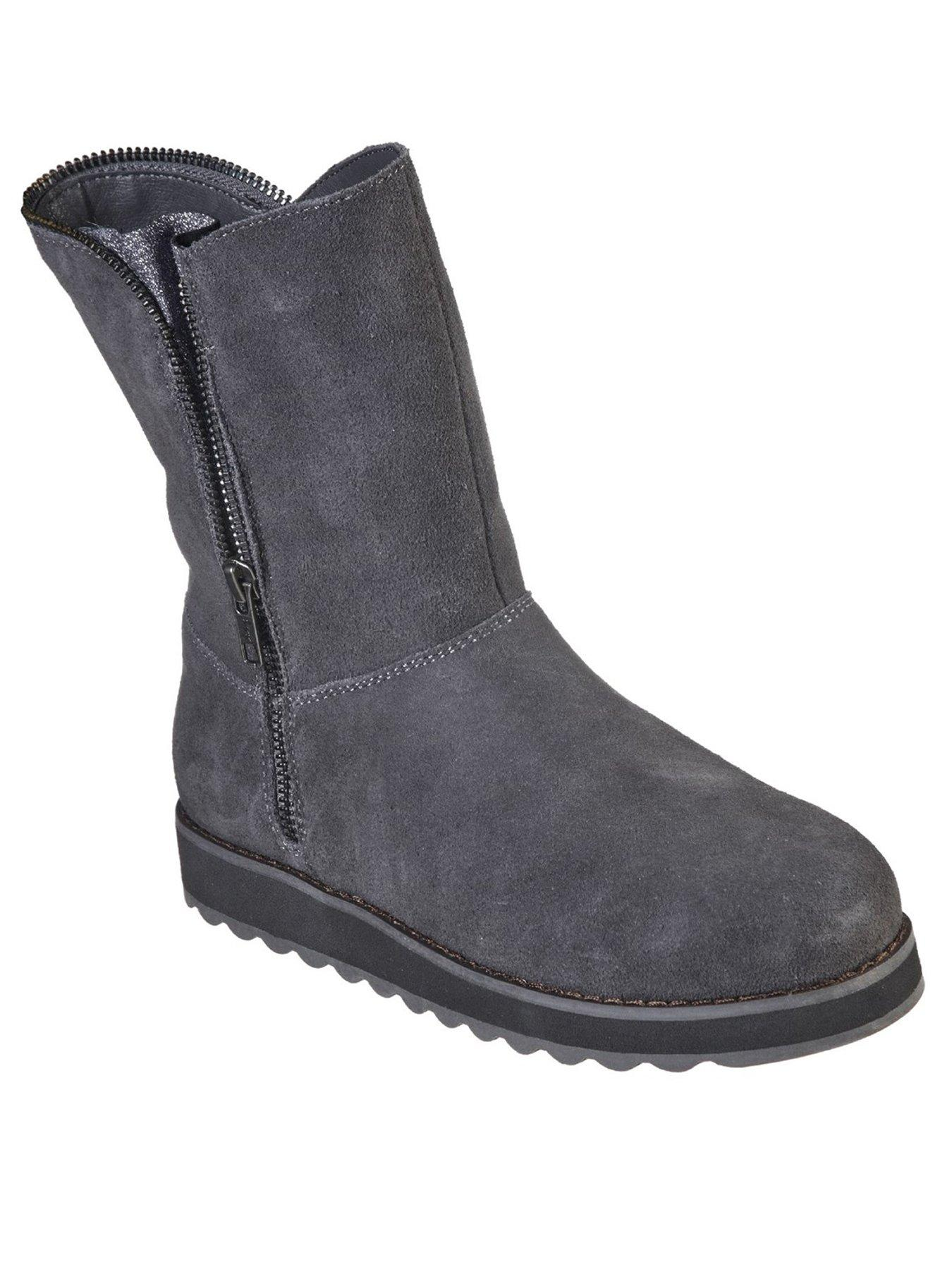 skechers suede zip ankle boot with faux
