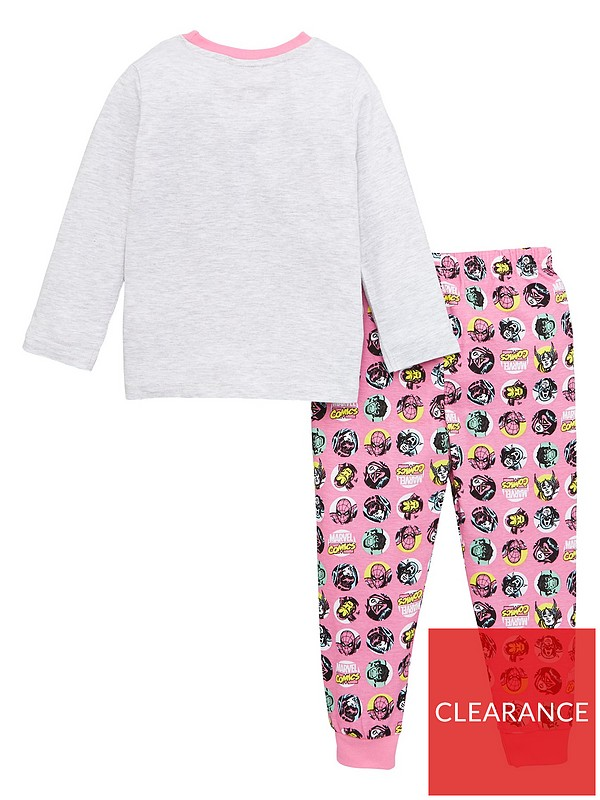 Girls Novelty Funny Face Long Pyjamas 3 to 10 Years Pink