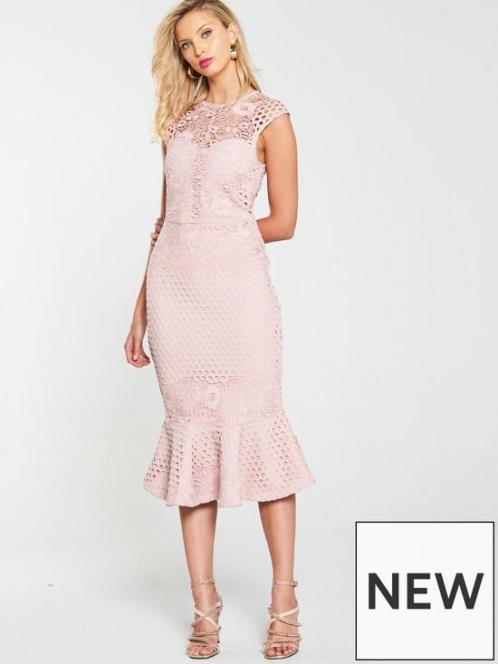 Lace Ruffle Pencil Dress - Blush