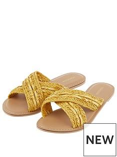 monsoon-walker-woven-cross-strap-sliders-yellow
