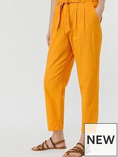 monsoon-sadie-structured-cotton-peg-leg-trousers-yellow