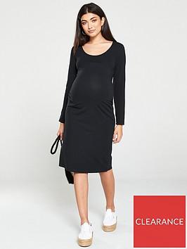 mama-licious-long-sleeve-jersey-maternity-dress-black