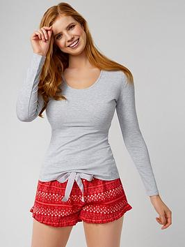 boux-avenue-ls-top-amp-fairisle-shortie-in-a-bag-redmix
