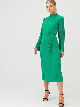 v-by-very-high-neck-plisse-midi-dress-green