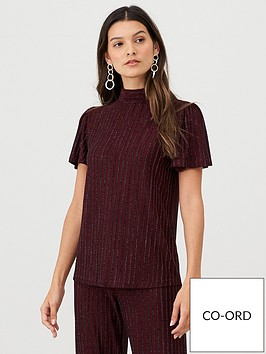v-by-very-lurex-stripe-high-neck-co-ord-top-purple