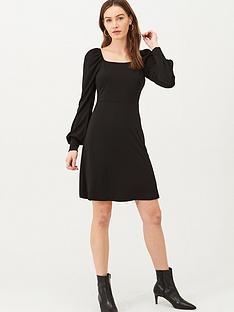 v-by-very-square-neck-jersey-mini-dress-black