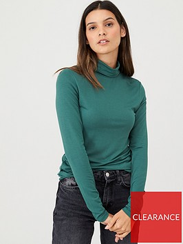v-by-very-long-sleeve-roll-neck-top-green