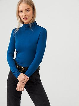 v-by-very-roll-neck-top-blue