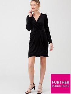 v-by-very-textured-velvet-wrap-dressnbsp--black