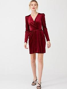 v-by-very-textured-velvet-wrap-dress-burgundy