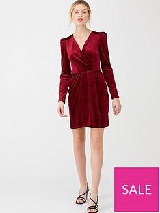 v-by-very-textured-velvet-wrap-dress-burgundy