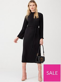 v-by-very-high-neck-plisse-midi-dress-black