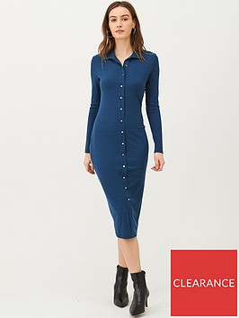 v-by-very-button-through-collar-jersey-midi-dress-navy