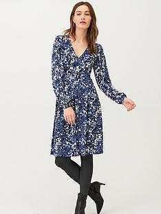 v-by-very-printed-v-neck-jersey-mini-dress-blue