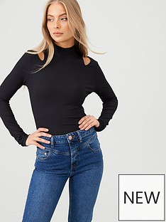 v-by-very-turtle-neck-cut-out-top-black