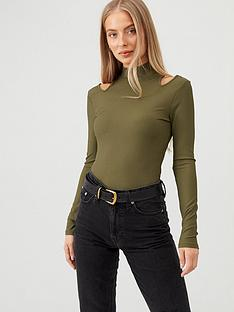 v-by-very-turtle-neck-cut-out-top-olive