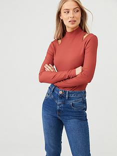 v-by-very-turtle-neck-cut-out-top-rust-red