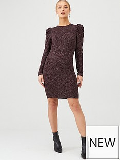 v-by-very-sparkle-volume-sleeve-dress-plum