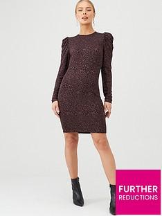v-by-very-sparkle-volume-sleeve-dress-plum