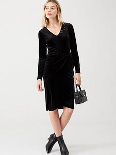 v-by-very-pknot-front-velvetnbspdress-blackp