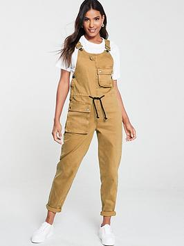 v-by-very-channel-waist-cargo-dungaree-tobacco