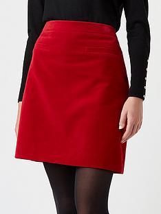 hobbs-vanetta-velvet-skirt-red