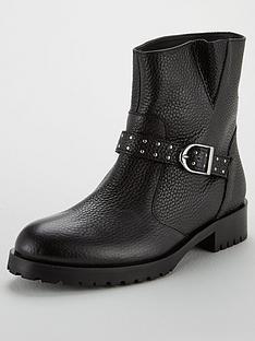 karen-millen-biker-pull-on-ankle-boots-black