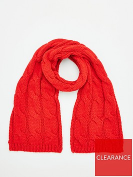v-by-very-cable-knit-scarf-red