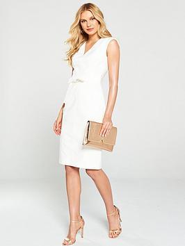 karen-millen-tie-waist-contour-dress-ivory