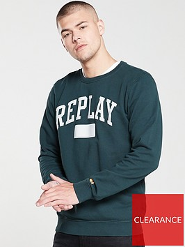replay-archive-sport-logo-crew-sweatshirt-dark-green