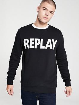 replay-logo-crew-neck-sweatshirt-black