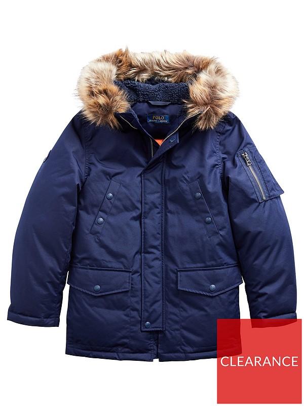 A2Z 4 Kids/® Kids Coat Designers Navy Parka Jacket Long Faux Fur Hooded Top New Age 3 4 5 6 7 8 9 10 11 12 13 Years