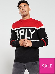 replay-logo-knitted-jumper