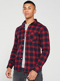 replay-checked-flannel-shirt-rednavy